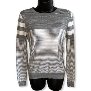 Striped Horizontal Long Knit Sweater Pullover